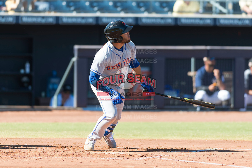 Scottsdale Scorpions left fielder Desmond Lindsay (1), of the New York Mets organization, starts down the first base line during an Arizona Fall League game against the Peoria Javelinas at Peoria Sports Complex on October 18, 2018 in Peoria, Arizona. Scottsdale defeated Peoria 8-0. (Zachary Lucy/Four Seam Images)