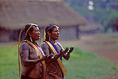 Kubenkokre Village, Brazil. Kayapo women taking part in a dance ceremony; Xingu.