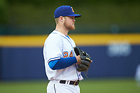 Durham Bulls third baseman Christian Arroyo (24) on defense against the Gwinnett Braves at Durham Bulls Athletic Park on April 20, 2019 in Durham, North Carolina. The Bulls defeated the Braves 11-3 in game one of a double-header. (Brian Westerholt/Four Seam Images)