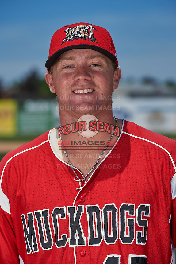 Batavia Muckdogs pitcher Justin Hillyer (47) poses for a photo before the teams first practice on June 15, 2016 at Dwyer Stadium in Batavia, New York.  (Mike Janes/Four Seam Images)