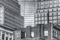 Contrasting facades of the John Hancock building and surrounding buildings, Boston, Massachusetts.