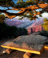 View of Grand Canyon with bench. Angels Landing. Grand Canyon National Park, Arizona