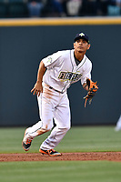 Shortstop Andres Jimenez (4) of the Columbia Fireflies plays defense in a game against the Lakewood BlueClaws on Friday, May 5, 2017, at Spirit Communications Park in Columbia, South Carolina. Lakewood won, 12-2. (Tom Priddy/Four Seam Images)