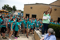 """Members take a selfie with a community organizer during """"Circle the City with Service,"""" the Kiwanis Circle K International's 2015 Large Scale Service Project, on Wednesday, June 24, 2015, in Indianapolis. (Photo by James Brosher)"""