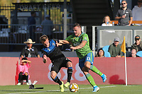 SAN JOSE, CA - SEPTEMBER 29: Tommy Thompson #22 of the San Jose Earthquakes is marked by Jordan Morris #13 of the Seattle Sounders FC during a Major League Soccer (MLS) match between the San Jose Earthquakes and the Seattle Sounders on September 29, 2019 at Avaya Stadium in San Jose, California.