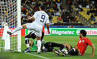 Charlie Davies (9) of USA scores the opening goal. USA defeated Egypt 3-0 during the FIFA Confederations Cup at Royal Bafokeng Stadium in Rustenberg, South Africa on June 21, 2009.