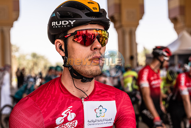 Red Jersey Phil Bauhaus (GER) Bahrain-McLaren ready to start Stage 5 of the Saudi Tour 2020 running 144km from Princess Nourah University to Al Masmak, Saudi Arabia. 8th February 2020. <br /> Picture: ASO/Kåre Dehlie Thorstad | Cyclefile<br /> All photos usage must carry mandatory copyright credit (© Cyclefile | ASO/Kåre Dehlie Thorstad)