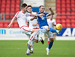 St Johnstone v Brechin….24.07.19      McDiarmid Park     Betfred Cup       <br />Chris Kane battles with Dougie Hill<br />Picture by Graeme Hart. <br />Copyright Perthshire Picture Agency<br />Tel: 01738 623350  Mobile: 07990 594431