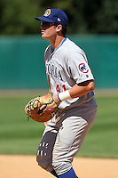 Peoria Chiefs first baseman Justin Bour (41) during a game vs. the Kane County Cougars at Elfstrom Stadium in Geneva, Illinois August 15, 2010.   Peoria defeated Kane County 8-4.  Photo By Mike Janes/Four Seam Images