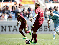 Calcio, Serie A: Roma, stadio Olimpico, 30 aprile 2017.<br /> AS Roma's Daniele De Rossi kicks a penalty during the Italian Serie A football match between AS Roma an Lazio at Rome's Olympic stadium, April 30 2017.<br /> UPDATE IMAGES PRESS/Isabella Bonotto