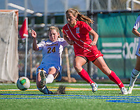 29 September 2013: University of Vermont Catamount Defender Sierra Rhoads, a Freshman from La Crescenta, CA, keep the ball away from Stony Brook University Seawolves Forward Larissa Nysch, a Senior from Dresher, PA, at Virtue Field in Burlington, Vermont. The Lady Cats fell to the visiting Seawolves 2-1 in America East play. Mandatory Credit: Ed Wolfstein Photo *** RAW (NEF) Image File Available ***