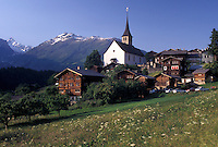 Switzerland, Valais, Alps, Picturesque village of Ernen in Goms Valley in the Canton of Valais in the Swiss Alps.