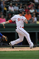 Second baseman Reed Gragnani (7) of the Greenville Drive in a game against the Lexington Legends on Monday, August 18, 2013, at Fluor Field at the West End in Greenville, South Carolina. Gragnani was a 21st-round pick out of the University of Virginia by the Boston Red Sox in the 2013 First-Year Player Draft. Lexington won, 5-0. (Tom Priddy/Four Seam Images)