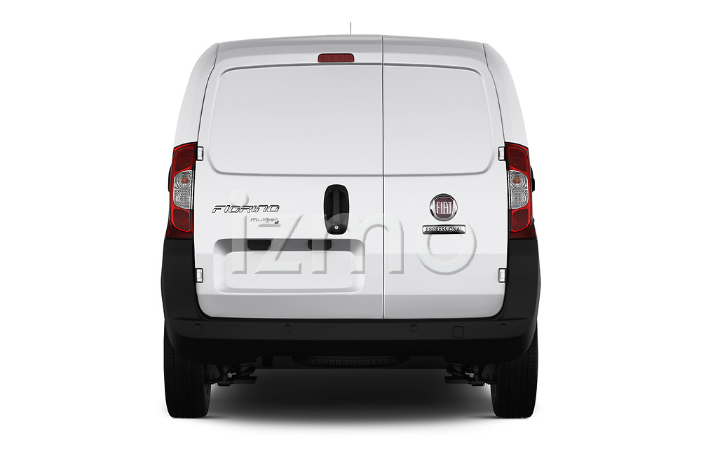 Straight rear view of 2017 Fiat Fiorino Pack 4 Door Car Van Rear View  stock images