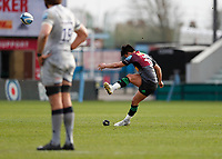 20th February 2021; Twickenham Stoop, London, England; English Premiership Rugby, Harlequins versus Sale Sharks; Marcus Smith of Harlequins kicking for a successful try conversion