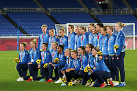 YOKOHAMA, JAPAN - AUGUST 6: Team Sweden pose with their silver medals during the ceremony at International Stadium Yokohama on August 6, 2021 in Yokohama, Japan.