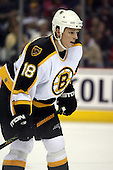 February 17th 2007:  Mark Mowers (18) of the Boston Bruins gets ready for a face off vs. the Buffalo Sabres at HSBC Arena in Buffalo, NY.  The Bruins defeated the Sabres 4-3 in a shootout.