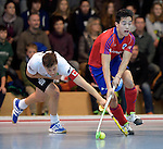 GER - Mannheim, Germany, November 28: During the 1. Bundesliga Sued Herren indoor hockey match between Mannheimer HC (red) and TG Frankenthal (white) on November 28, 2015 at Irma-Roechling-Halle in Mannheim, Germany. Final score 7-7 (HT 3-3). (Photo by Dirk Markgraf / www.265-images.com) *** Local caption *** Timo Schmietenknop #17 of TG Frankenthal, Tino Nguyen Luong #7 of Mannheimer HC