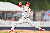 Lakewood BlueClaws starting pitcher Bailey Falter (9) delivers a pitch during a game against the Beer City Tourists at McCormick Field on June 1, 2017 in Asheville, North Carolina. The Tourists defeated the BlueClaws 8-5. (Tony Farlow/Four Seam Images)