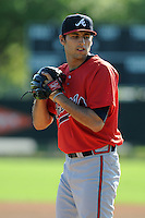 Pitcher Jorge Reyes (24) of the Atlanta Braves farm system in a Minor League Spring Training workout on Tuesday, March 17, 2015, at the ESPN Wide World of Sports Complex in Lake Buena Vista, Florida. (Tom Priddy/Four Seam Images)
