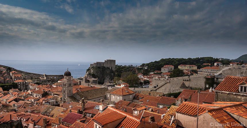 Photograph of the ocean port of Dubrovnik which is a walled city located within the southern part of Croatia and is situated along the Adriatic Sea. <br />