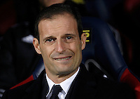 Calcio, Serie A:  Bologna vs Juventus. Bologna, stadio Renato Dall'Ara, 19 febbraio 2016. <br /> Juventus coach Massimiliano Allegri waits for the start of the Italian Serie A football match between Bologna and Juventus at Bologna's Renato Dall'Ara stadium, 19 February 2016.<br /> UPDATE IMAGES PRESS/Isabella Bonotto