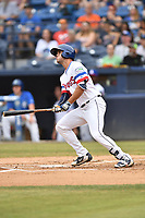 Asheville Tourists first baseman Sean Bouchard (13) swings at a pitch during a game against the Augusta GreenJackets on Crash Davis Night at McCormick Field on June 16, 2018 in Asheville, North Carolina. The GreenJackets defeated the Tourists 7-6. (Tony Farlow/Four Seam Images)