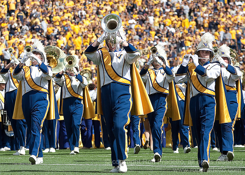 September 4, 2010: WVU Marching Band. The West Virginia Mountaineers defeated the Coastal Carolina Chanticleers 31-0 on September 4, 2010 at Mountaineer Field, Morgantown, West Virginia.