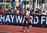 12 JUNE 2015: Omar McLeod of Arkansas celebrates after  Arkansas won the National Championship in the Men's 4 X 100 meter relay during the Division I Men's and Women's Outdoor Track & Field Championship held at Hayward Field in Eugene, OR.  Arkansas won the race in a time of 38.47. Steve Dykes/ NCAA Photos