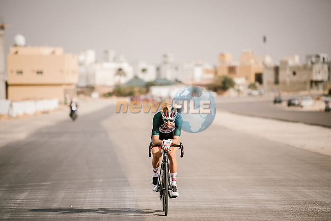 Race leader Rui Costa (POR) UAE Team Emirates during Stage 3 of the Saudi Tour 2020 running 119km from King Saud University to Al Bujairi, Saudi Arabia. 6th February 2020. <br /> Picture: ASO/Pauline Ballet | Cyclefile<br /> All photos usage must carry mandatory copyright credit (© Cyclefile | ASO/Pauline Ballet)
