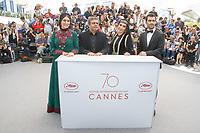 Soudabeh BEIZAEE, Mohammad RASOULOF, Nasim ADABI et Mohammad AKHLAGHIRAD en photocall pour le film UN HOMME INTEGRE lors du soixante-dixiËme (70Ëme) Festival du Film ‡ Cannes, Palais des Festivals et des Congres, Cannes, Sud de la France, vendredi 19 mai 2017. Philippe FARJON / VISUAL Press Agency