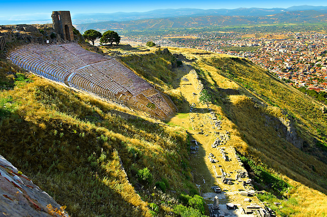 The Theatre of Pergamon ( Bergama ) is one of the steepest theatres in the world. Capable of holding a 10,000 people audience it was constructed in the 3rd century BC and underwent changes in the Roman period of Emperor Caracalla ( 211-217 AD). Pergamon (Bergama) Archaeological Site, Turkey