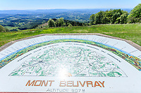 France, Saone et Loire, Regional Natural Park of Morvan, Mont Beuvray, Saint Leger sous Beuvray, Bibracte oppidum on the Mont Beuvray, orientation table on the esplanade of La Chaume // France, Saône-et-Loire (71), Parc naturel régional du Morvan, Mont Beuvray, Saint-Léger-sous-Beuvray, oppidum de Bibracte sur le mont Beuvray, table d'orientation sur l'esplanade de La Chaume