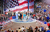 New York, NY - September 2, 2004 --  Wide view of the podium with the Bush and Cheney families during the celebration at the 2004 Republican Convention after United States President George W. Bush accepted his party's nomination in Madison Square Garden in New York, New York on Thursday, September 2, 2004.  In his remarks, the President spoke about where he wants to lead the United States for the next four years.  .Credit: Ron Sachs / CNP.(RESTRICTION: No New York Metro or other Newspapers within a 75 mile radius of New York City)