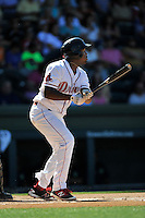 First baseman Josh Ockimey (18) of the Greenville Drive bats in a game against the Columbia Fireflies on Sunday, April 24, 2016, at Fluor Field at the West End in Greenville, South Carolina. Greenville won, 5-1. (Tom Priddy/Four Seam Images)