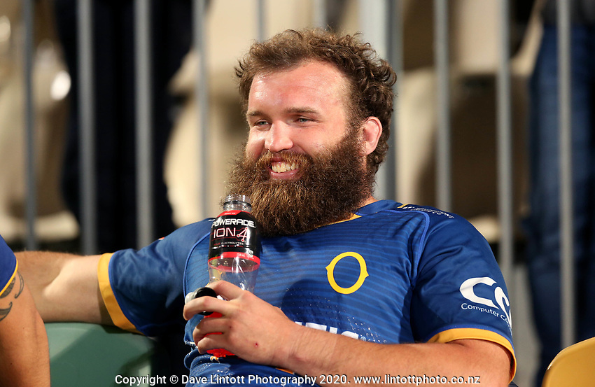 Liam Coltman is all smiles after the 2020 Mitre 10 Cup rugby match between Canterbury and Otago at Orangetheory Stadium in Christchurch, New Zealand on Friday, 30 October 2020. Photo: Martin Hunter / lintottphoto.co.nz