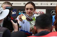29th August 2021; Commezzadura, Trentino, Italy; 2021 Mountain Bike Cycling World Championships, Val di Sole; Downhill;  Downhill final, junior women, Izabela YANKOVA  BUL displays her gold medal
