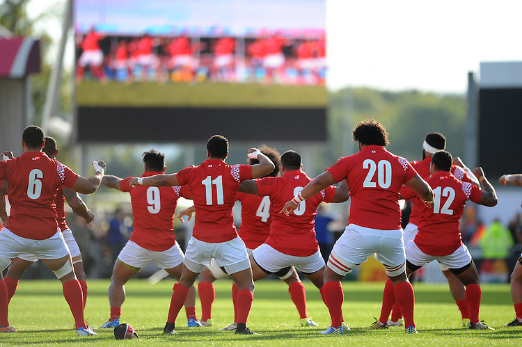 Tonga perform their pre-match war dance, the Sipi Tau,  during Match 20 of the Rugby World Cup 2015 between Tonga and Namibia - 29/09/2015 - Sandy Park, Exeter<br /> Mandatory Credit: Rob Munro/Stewart Communications