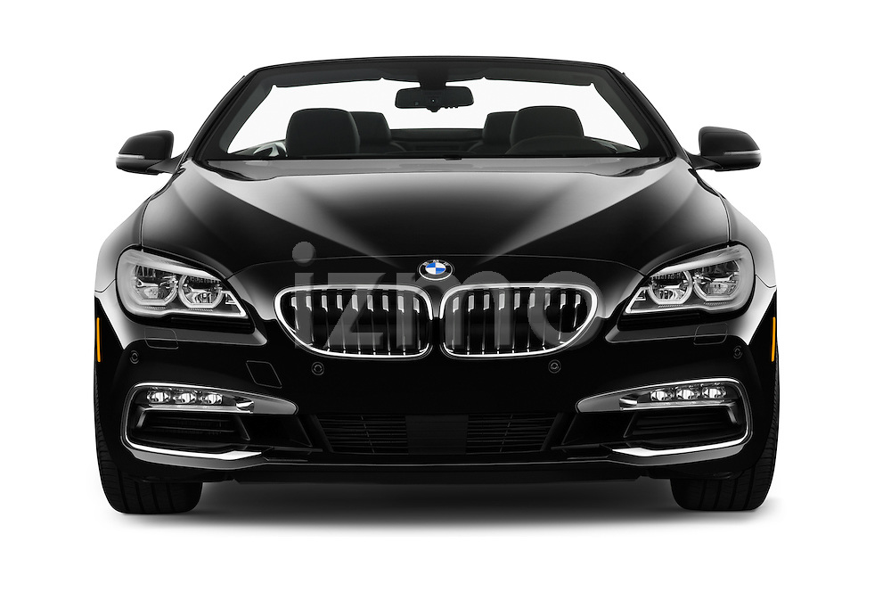 Car photography straight front view of a 2016 BMW 6 Series 640i Black Accent Pkg 2 Door Convertible Front View