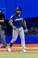 25 March 2019: Milwaukee Brewers designated hitter Eric Thames returns to the dugout after his at bat during an exhibition game against the Toronto Blue Jays at Olympic Stadium in Montreal, Quebec, Canada. The Brewers defeated the Blue Jays 10-5 in the first of two MLB pre-season games in the former home of the Montreal Expos. Mandatory Credit: Ed Wolfstein Photo *** RAW (NEF) Image File Available ***