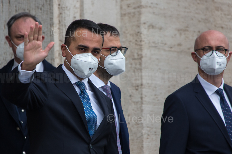 (From L to R) Luigi Di Maio, Minister of Foreign Affairs; Stefano Patuanelli, Minister of Agriculture & Federico D'Incà, Minister of Parliamentary Relations.<br /> <br /> Rome, Italy. 13th Feb, 2021. The new Italian Government, led by Professor and former President of the ECB - European Central Bank - Mario Draghi, leaves the Palazzo del Quirinale (Quirinale Palace) after swearing in front of the President of the Italian Republic, Sergio Mattarella. This is the 67th Government of Italy.<br /> <br /> Footnotes & Links:<br /> Italian Government website: http://www.governo.it/