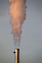 Chimneys at Saltend Chemical Plant, Kingston upon Hull, East Yorkshire, England, UK.