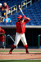 Clearwater Threshers first baseman Wilson Garcia (10) at bat during the first game of a doubleheader against the Palm Beach Cardinals on April 13, 2017 at Spectrum Field in Clearwater, Florida.  Clearwater defeated Palm Beach 1-0.  (Mike Janes/Four Seam Images)