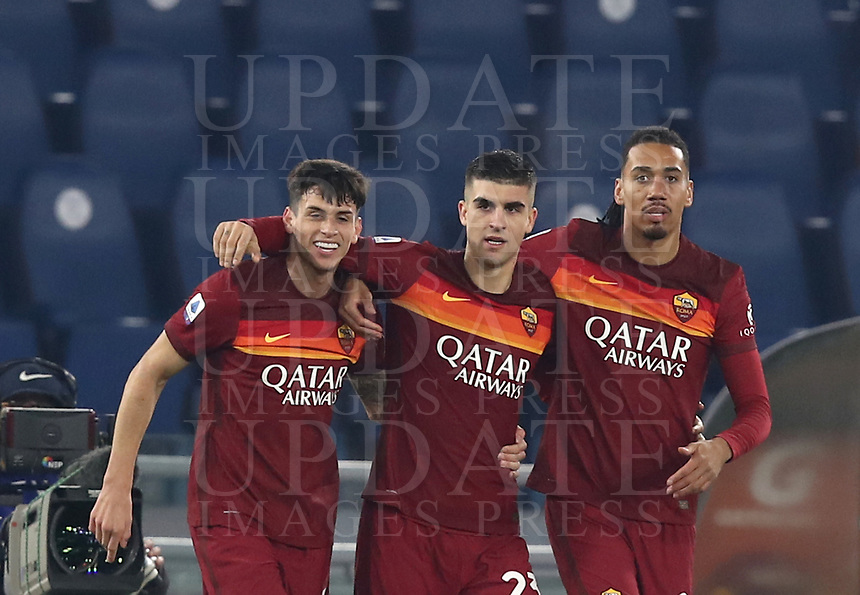 Football, Serie A: AS Roma - Cagliari calcio, Olympic stadium, Rome, December 23, 2020. <br />  (l) in action with (r) during the Italian Serie A football match between Roma and Cagliari at Rome's Olympic stadium, on December 23, 2020.  <br /> UPDATE IMAGES PRESS/Isabella Bonotto