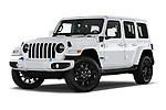 Stock pictures of low aggressive front three quarter view of 2021 JEEP Wrangler-Unlimited High-Altitude-4XE 5 Door SUV Low Aggressive