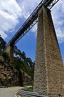 Bahnbrücke Pont du Vecchio über den Vecchio nahe Venaco, erbaut 1827 von Gustave Eiffel, Korsika, Frankreich