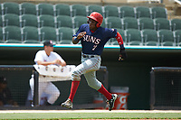 Juan Pascal (7) of the Hagerstown Suns hustles towards home plate against the Kannapolis Intimidators at Kannapolis Intimidators Stadium on July 17, 2018 in Kannapolis, North Carolina. The Intimidators defeated the Suns 10-9. (Brian Westerholt/Four Seam Images)