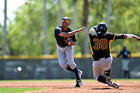 Second baseman Derek Toadvine (30) of the New York Yankees organization during a minor league spring training game against the Pittsburgh Pirates on March 22, 2014 at Pirate City in Bradenton, Florida.  (Mike Janes/Four Seam Images)