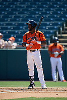 Bowie Baysox Anderson Feliz (20) bats during an Eastern League game against the Binghamton Rumble Ponies on August 21, 2019 at Prince George's Stadium in Bowie, Maryland.  Bowie defeated Binghamton 7-6 in ten innings.  (Mike Janes/Four Seam Images)