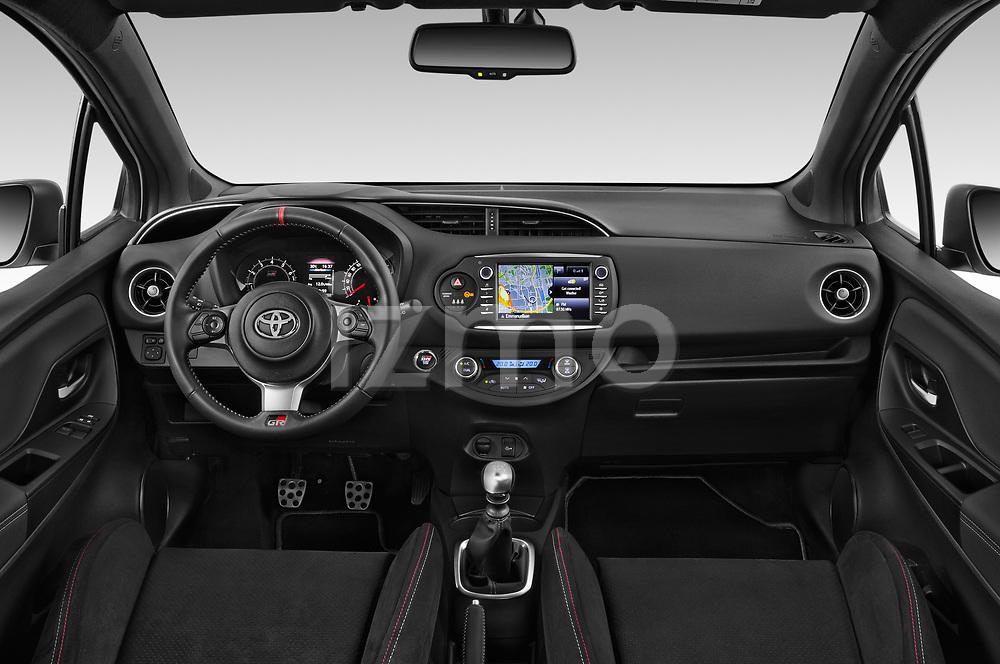 Stock photo of straight dashboard view of a 2018 Toyota Yaris GRMN 3 Door Hatchback